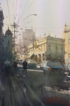Joseph Zbukvic, Cnr Johnstone and Brunswick Watercolour