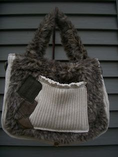 The Sienna Tote  Upcycled cable knit, faux fur, leather and suede