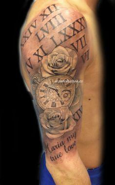 reloj rosa numeros romanos tattoo1