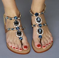 59 Sandals You Will Definitely Want To Try - New Shoes Styles & Design Pretty Sandals, Cute Sandals, Jeweled Sandals, Beaded Sandals, Sandals Outfit, Shoes Sandals, Heels, Strap Sandals, Cute Flats