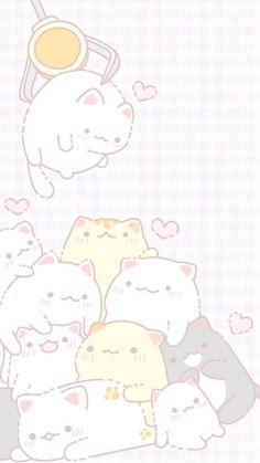 New Ideas Drawing Cute Cat Illustrations Cute Pastel Wallpaper, K Wallpaper, Cute Wallpaper For Phone, Cute Anime Wallpaper, Cute Animal Drawings, Kawaii Drawings, Cute Drawings, Cute Wallpaper Backgrounds, Cute Cartoon Wallpapers