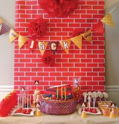 fire truck boy's birthday party table www.spaceshipsandlaserbeams.com
