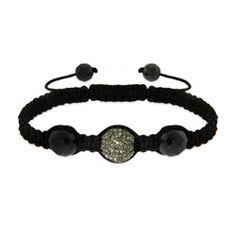 Dark Gray Austrian Crystal and Hematite Shamballa Inspired Bracelet