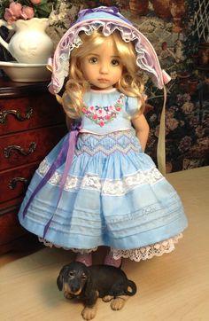 "Effner Little Darling Doll OOAK ""WILD FLOWERS"" dress, bonnet ,slip ,panties"