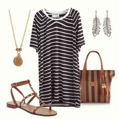 Black Short Sleeve Striped Loose T-Shirt