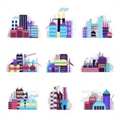 Industrial Building Icons Set by macrovector Industrial city construction building factories and plants icons set isolated vector illustration. Editable EPS and Render in JPG
