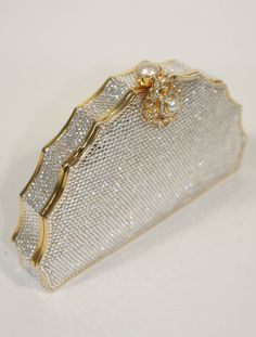 Judith Leiber Bejeweled Rhinestone Clutch | From a collection of rare vintage evening bags and minaudières at https://www.1stdibs.com/fashion/handbags-purses-bags/evening-bags-minaudieres/