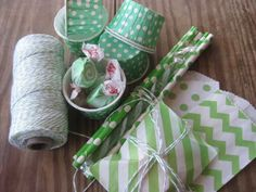 favor bags, paper straws, twine, paper cups