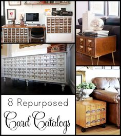 With all this talk of library card catalogs, I thought I'd round up 8 awesome, repurposed card catalogs. There are so many things you can do with these swoon-worthy pieces of furniture. Note: When pinning an image, please pin from the original source. Refurbished Furniture, Repurposed Furniture, Unique Furniture, Furniture Plans, Kitchen Furniture, Furniture Makeover, Furniture Decor, Furniture Movers, Repurposed Card Catalog