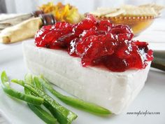 Homemade Cranberry Jalapeño Jam served over cream cheese