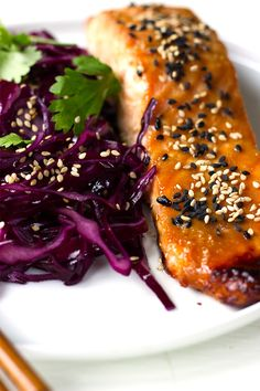 Miso Salmon with Sesame Red Cabbage
