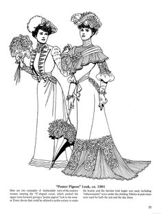 Late Victorian and Edwardian Fashions coloring page