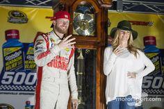 Race winner Dale Earnhardt Jr. with girlfriend Amy Reimann
