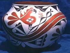 Rose Chino Garcia:  The finished Parrot and Rainbow pot, 1997 (Photo by William Frank)