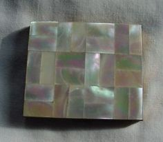 Gorgeous Vintage Mother of Pearl & Goldtone Compact Geometric Square German