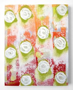 """Camellias,"" green, orange, and red floral painting by artist Deric Carner available at Saatchi Art 