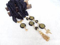 Black Turkish Silk ScarfTurkish JewelryGold NecklaceJewelry