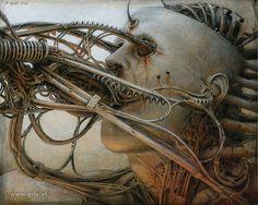 Peter Gric A surreal figurative portrait by Czec-born, Austrian based, artist: Peter Gric. Giger Art, Hr Giger, Arte Horror, Horror Art, Dark Fantasy Art, Dark Art, The Ancient Magus, Arte Cyberpunk, Creepy Art
