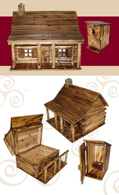 Wooden Cabin Cremation Urn - These wooden urns are a great way to memorialize your loved one with a passion for the outdoors. There is an option for a log cabin urn, as well as an outhouse keepsake urn. Both urns for ashes are available for purchase here. Popsicle Stick Houses, Popsicle Stick Crafts, Craft Stick Crafts, Wood Crafts, Cremation Boxes, Cremation Urns, Doll Furniture, Dollhouse Furniture, Twig Furniture