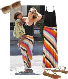 Even balancing a toddler on her hip, supermodel/supermom Heidi Klum looks amazing. Last week Heidi was spotted in Manhattan with her daughter Lou Sulola Samuel. Heidi accessorized her striped Alternative Apparel maxi skirt with a black tank & flat sandals. Find out how to get her flawless summer look with our TULLE sandals in today's Get The Look...