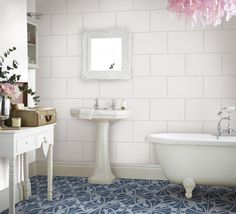 Super Satin White Wall Tile and Camden Blue Floral Lys from Topps Tiles
