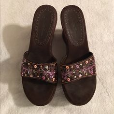 Brown Wedges Cute suede like material wedges. Slip ons. Worn once. A little wear on the insole pictured in 3rd picture. Beautiful beads and sequins across the strap. Size 7. Charlotte Russe Shoes Wedges