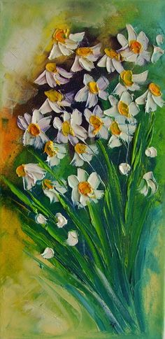 White Daisies IMPASTO Original Oil Painting by ArtistsUnion