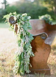 Greenery Wedding Themes- One of a Kind Wedding Ceremony Ideas, Outdoor Ceremony, Wedding Themes, Wedding Venues, Wedding Ceremonies, Outdoor Weddings, Church Pew Wedding Decorations, Chapel Wedding, Church Wedding