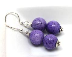 1.5 inch long purple sponge coral and Bali silver earrings