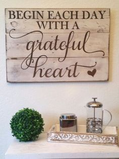 "http://Amazon.com: Rustic Engraved Wood Sign - 23"" x 16"" - Begin Each Day with a Grateful Heart - White: Paintings"