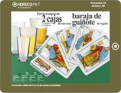 Promoción en vasos especiales para cerveza. Por la compra de 2 cajas de los vasos Andalus (25 cl), Numancia (33 cl) o Caña Lisa (18 cl ó 20 cl), te llevas una baraja de Guiñote de regalo.