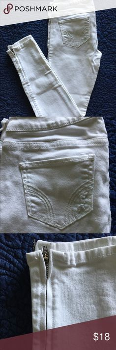 Hollister Skinny Jeans with Ankle Zippers -- White White distressed skinny jeans from Hollister size 5R. With zippers at the ankles, the perfect detail for the cutest pair of jeans. No rips and stains and it's no longer a rule that you shouldn't wear white after Labor Day so offer away! Stored in a non-smoking household. Hollister Jeans Skinny