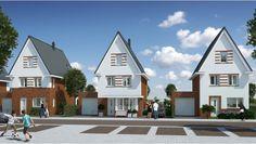 Nieuw huis, met erker aan voorzijde met ruimte voor een zitvensterbank in de keuken
