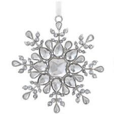 Silver Metal Snowflake With Crystal Accents