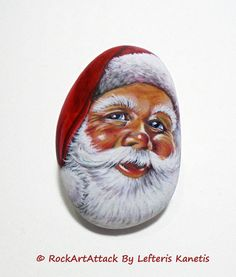 Santa Claus Hand Painted Stone Face Rock by RockArtAttack on Etsy