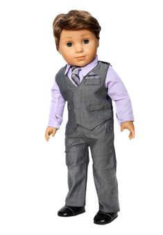 Gray and Purple Suit and Shoes Outfit fits 18 inch American Boy Doll Clothes Boy Doll Clothes, Doll Clothes Patterns, Clothing Patterns, Boy Clothing, American Boy Doll, American Girl Wellie Wishers, Purple Suits, Dolly Fashion, Girl Dolls