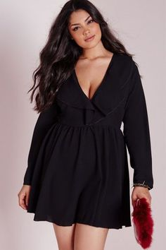 Plus Size Frill Swing Dress Weight: 0.3 Material: polyester+spandex Color: Black Style: brief Occasion: autumn Pattern: solid Neckline: v-neck Sleeve Length: full sleeve Dress Length: above knee mini