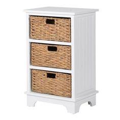 Richmond White Woden 3 Basket Storage Chest