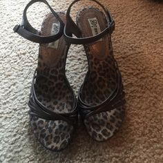 """Really nice brown sandals with 3"""" hills. Really nice Sandals. Worn once or twice. In excellent condition. The sole is animal print. Very nice shoes. Shoes Heels"""