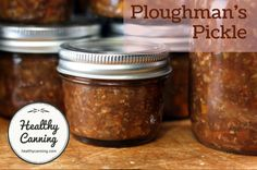Ploughman's Pickle! A homemade version of Branston Pickle, this pickle condiment has all the flavour and crunch without the frightening amounts of sodium in the commercial versions. This is a sweet brown relish with small chunks of vegetables in it. Welsh Recipes, Turkish Recipes, Romanian Recipes, Scottish Recipes, Watermelon Jam, Branston Pickle, Great British Food, Best Pickles, Marmalade Recipe