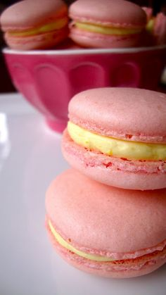 Raspberry Macarons with Meyer Lemon Buttercreme.