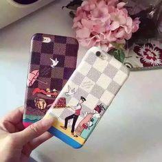 Coque pour iPhone 6s 6s plus Louise Vuitton marque de luxe cuir rigide avec dessin très chic achat sur www.lelinker.fr