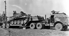 "German Panzer V ""Panther"" on the American armored tractor Tank Transporter"