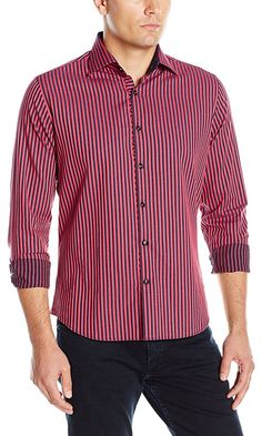 Stone Rose Men's Melange Vertical Stripe Button Down Shirt, Pink, XX-Large Best Price