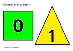 Numbers 0-50 on 2D shapes (SB8802) - SparkleBox