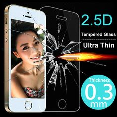 2.5D Ultra Thin Tempered Glass Screen Protector Case For iPhone 5 5S 5C 4 4S 6 6S Plus Cover Phone Cases Protective Film