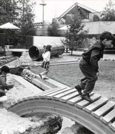 Oberlander's playscape for the Canadian Pavilion at the 1967 Expo in Montreal included both indoor and outdoor classrooms, Op-Art manipulatives, screens made of musical instruments, loose building parts, a hill, tunnel, stream and rowboat! In three years of writing about playscapes.  Image from the archives of the Canadian Center for Architecture.  Information and image found on Dwell.com