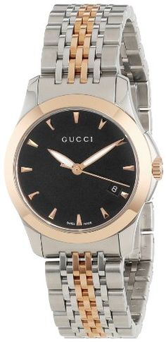 147d4eabb4e Gucci Women s YA126512 Gucci timeless Steel and Pink PVD Black Dial Watch   Gucci  Womens