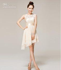 2015 bridesmaid chiffon short dresses Cocktail sheer neck Party evening champagne hollow dresses plus size cheap under