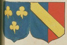 Charles LE LIÈVRE DE VERNEL, écuyer, conseiller du Roy au présidial de Poitiers, et Renée Brigitte D'ESCOUBLEAU DE SOURDIS, sa femme. Portent : d'azur, à trois treffles d'or, deux et un ; accolé, parti d'azur et de gueules, à une bande d'or, brochant sur le tout | N° 68
